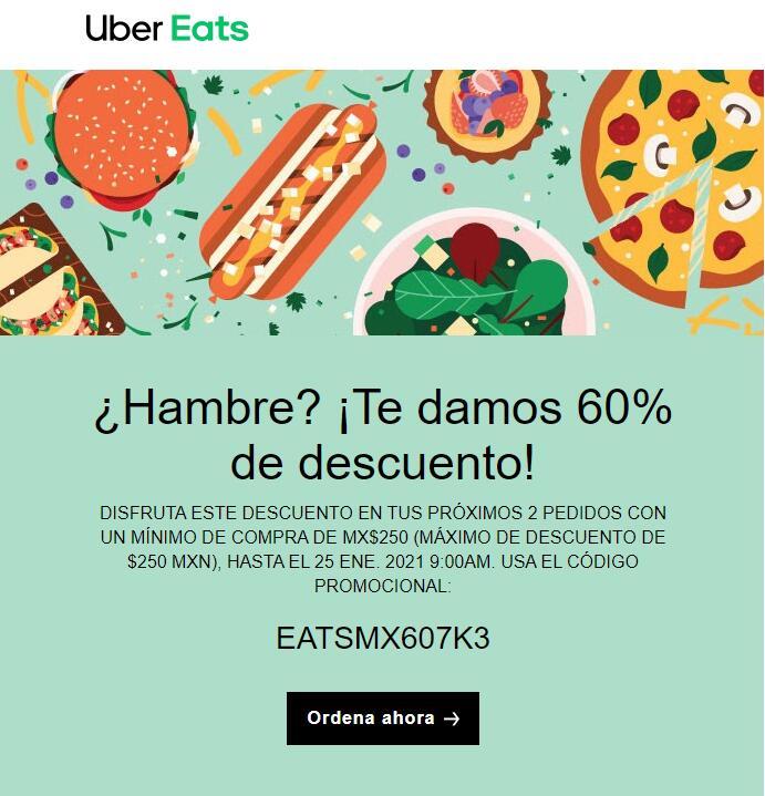 Uber Eats (Usuarios seleccionados): Descuento del 60% en 2 pedidos compra mínima 250 descto máximo 250
