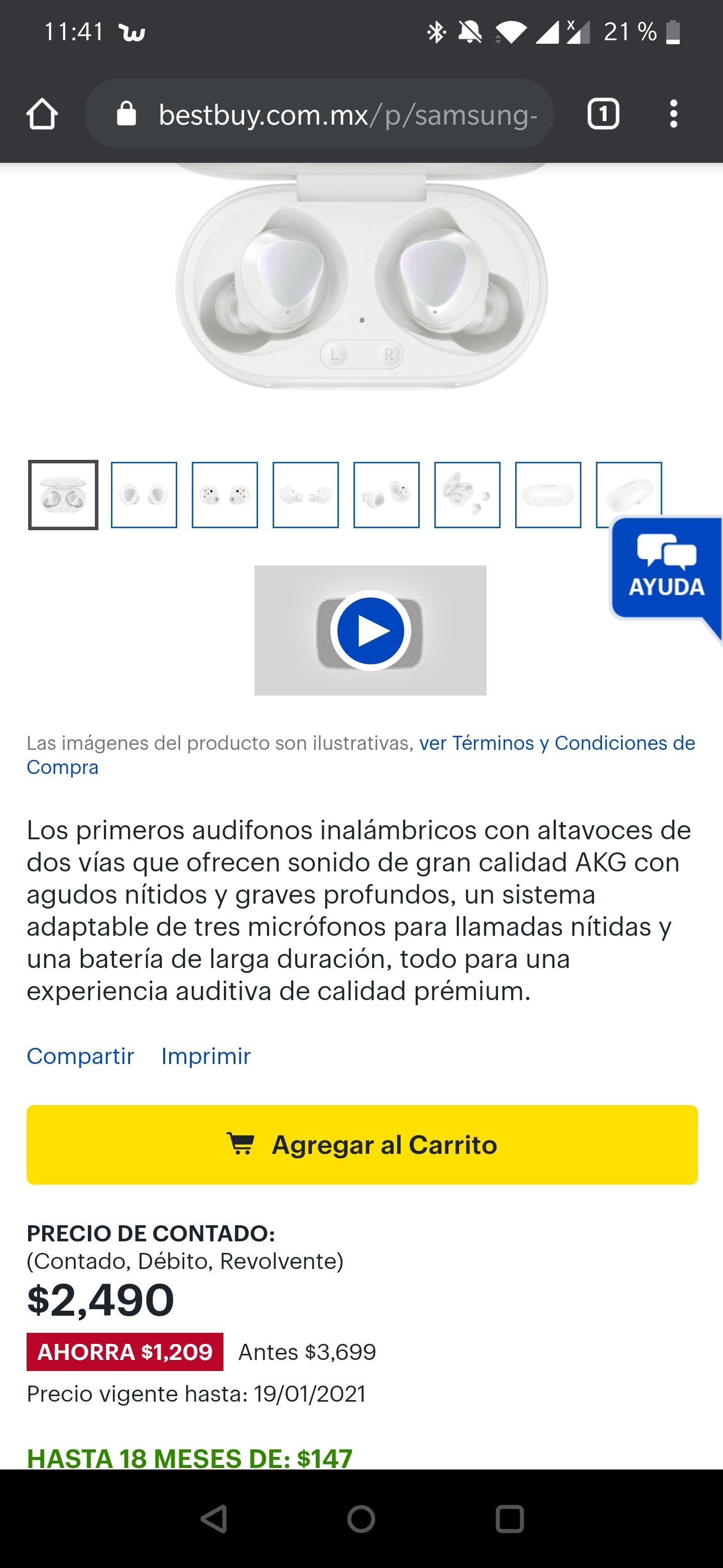 Best Buy: Galaxy Buds plus, garantía en México(color negro)