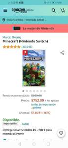 Minecraft switch edición por amazon