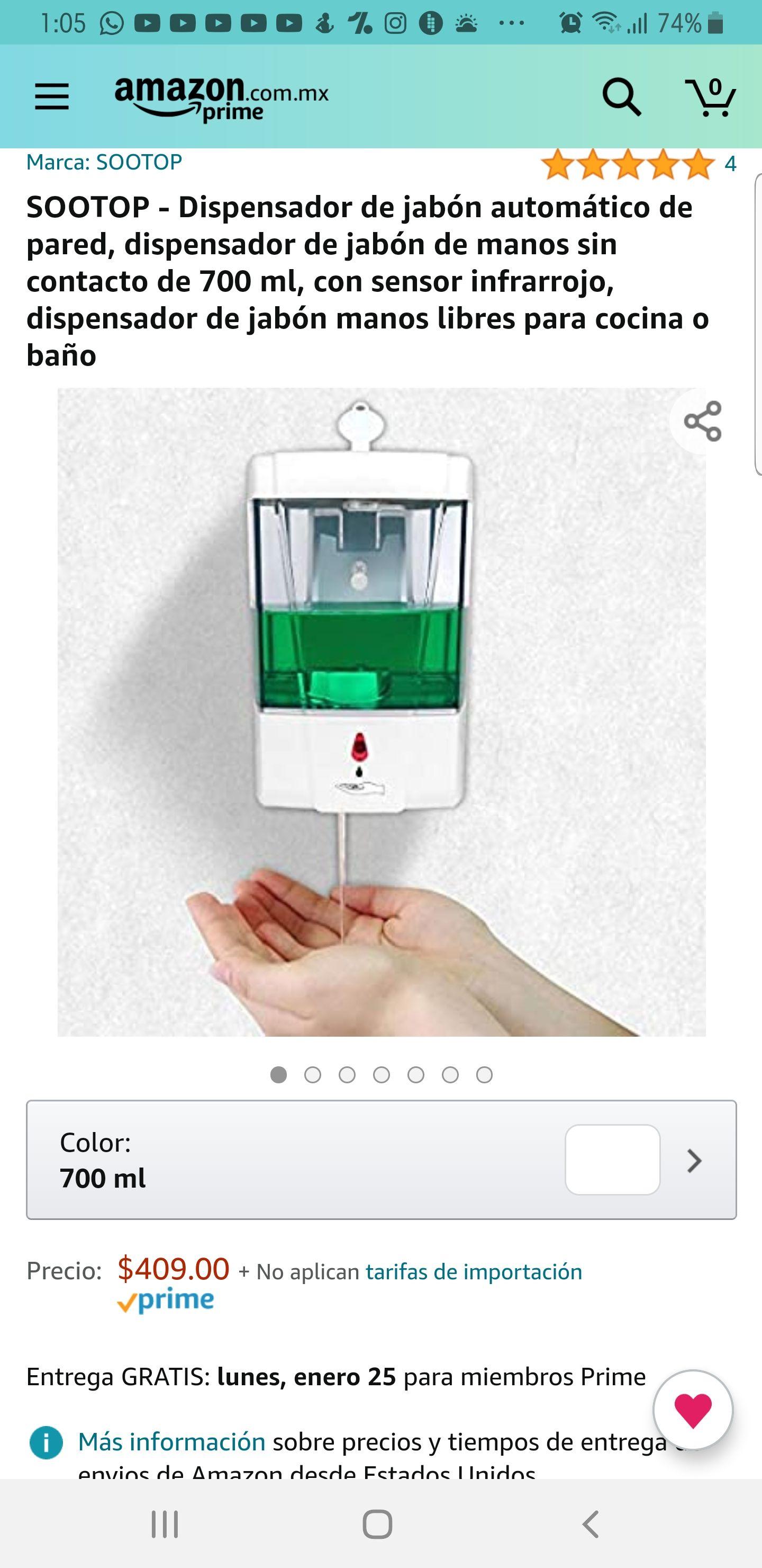 Amazon: Dispensador de jabón