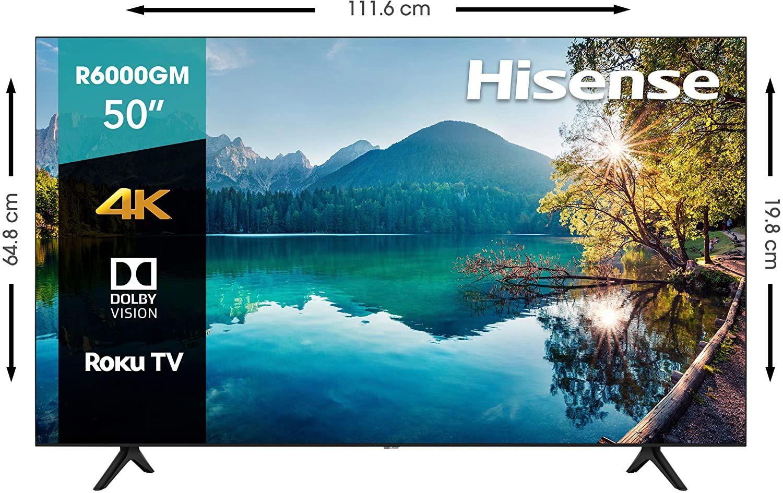 """Amazon: Hisense R6 50"""" 4K, Roku TV, Hdr10, Roku Search, (2020)"""