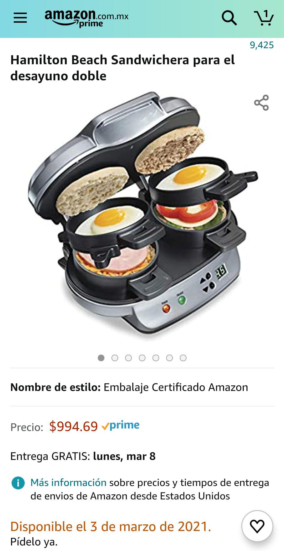 Amazon: Hamilton Beach Sandwichera para el desayuno doble