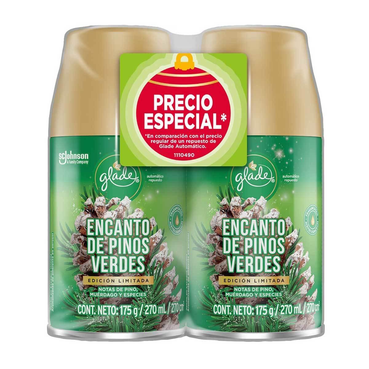 Chedraui: Aromatizante Automático Glade Encanto de Pinos Verdes 2 Repuestos de 175g