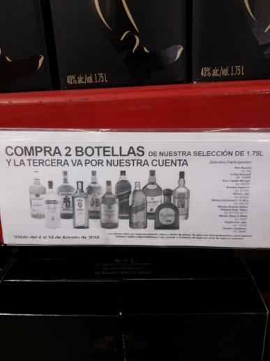 Sam's Club: 3x2 en botellas 1.75 L de vinos y licores