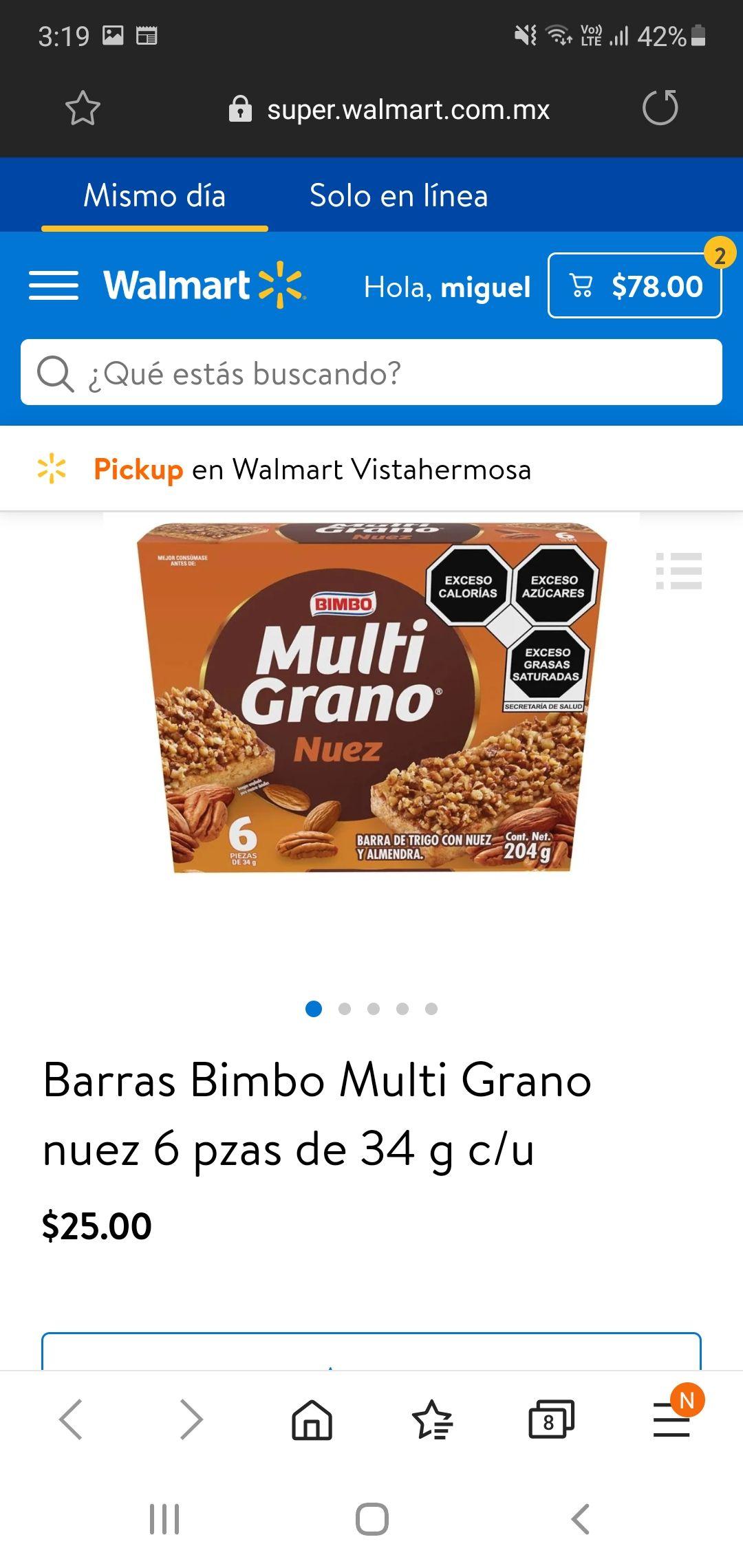 WALMART EN LINEA: BARRA MULTIGRANO 6 PIEZAS EN $ 25