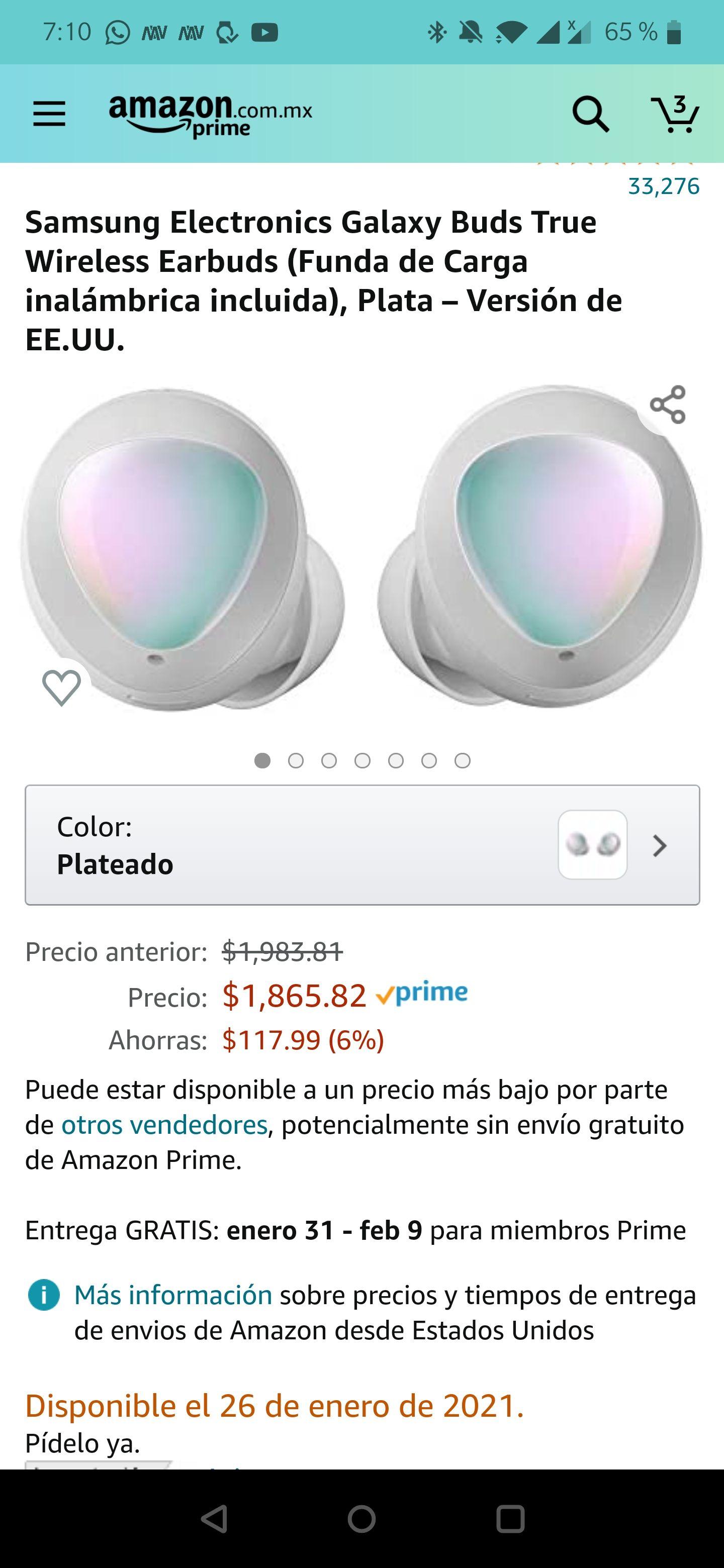 Amazon: Galaxy Buds (Vendido por un tercero)(Amazon buenas reseñas)