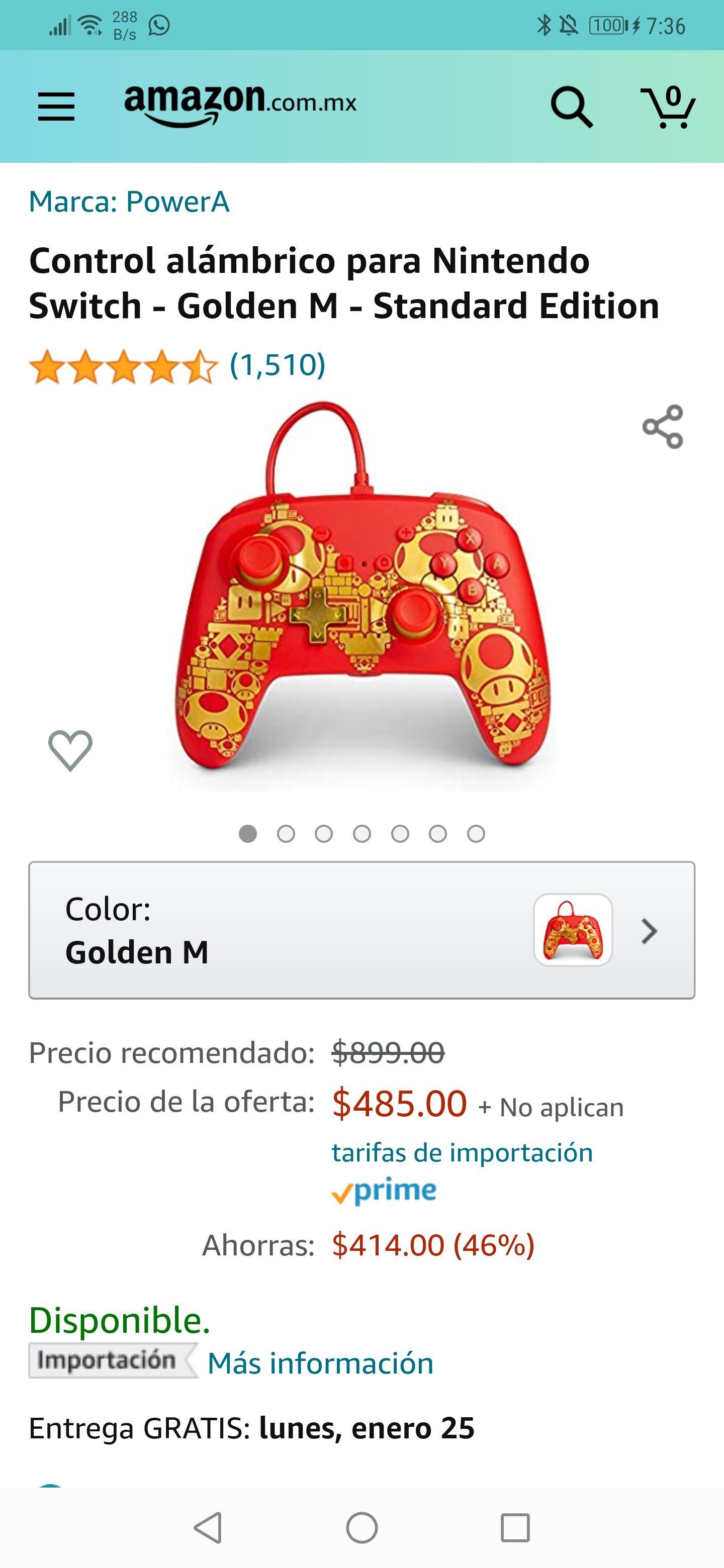 Amazon : Control alámbrico para Nintendo Switch - Golden M - Standard Edition precio más bajo según Keepa