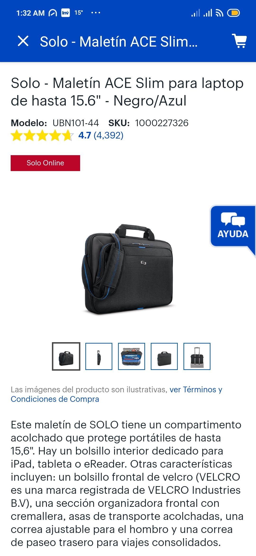 Best Buy: Maletín para laptop de hasta 15'6 pulgadas marca Solo