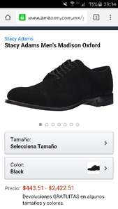 Amazon:  zapatos para caballero Stacy Adams Madison Oxford a $443 (solo talla 27.5 MX)