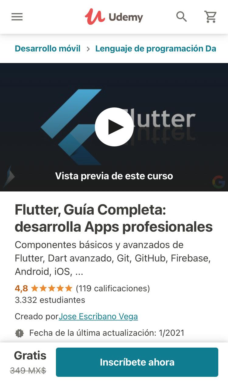 Udemy: Flutter, Guía Completa: desarrolla Apps profesionales