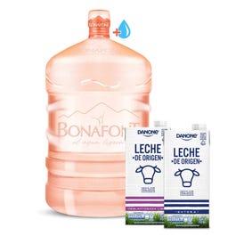 Bonafont: Envase más Agua Natural Bonafont 20L más Leche de Origen Danone Entera y Deslactosada Light 946mL