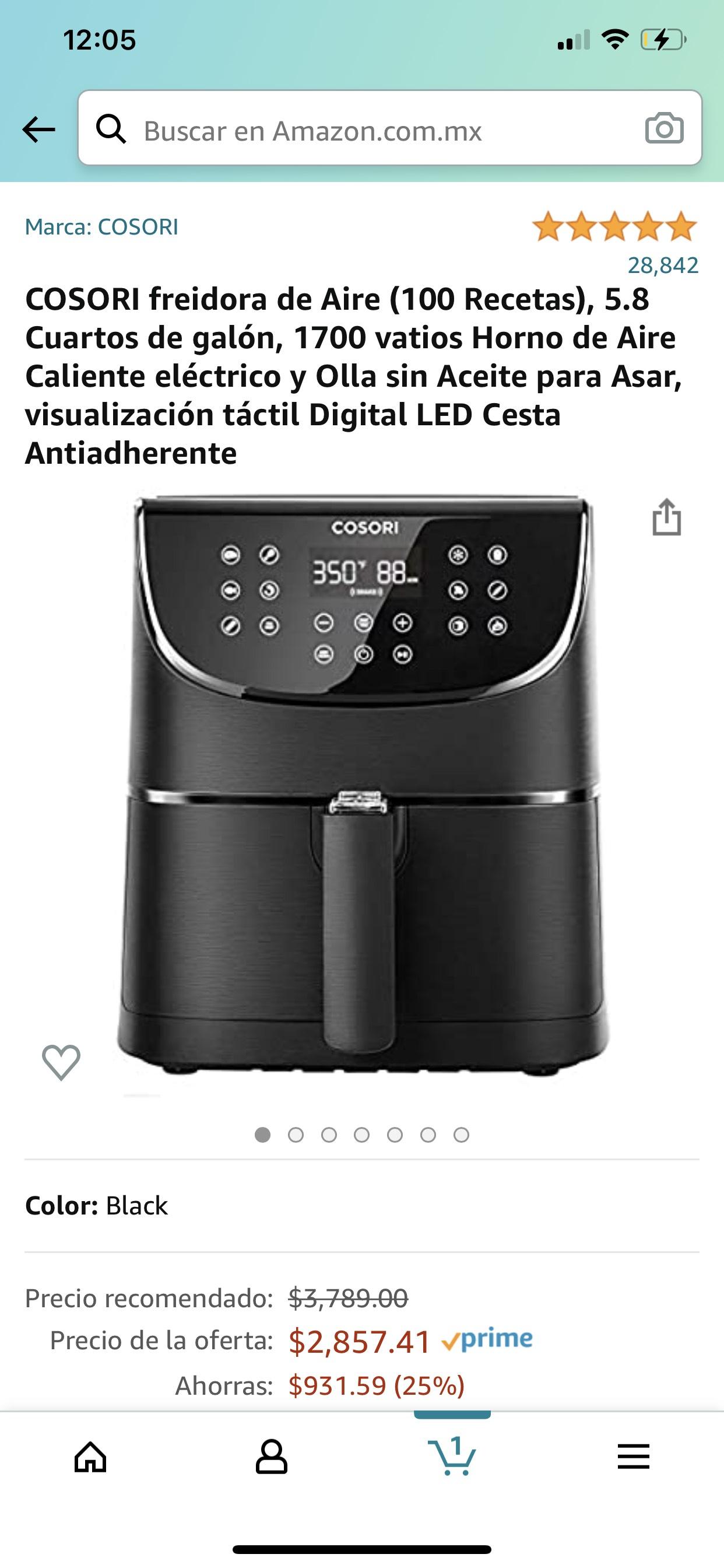 Amazon: COSORI freidora de Aire (100 Recetas), 5.8 Cuartos de galón, 1700 vatios