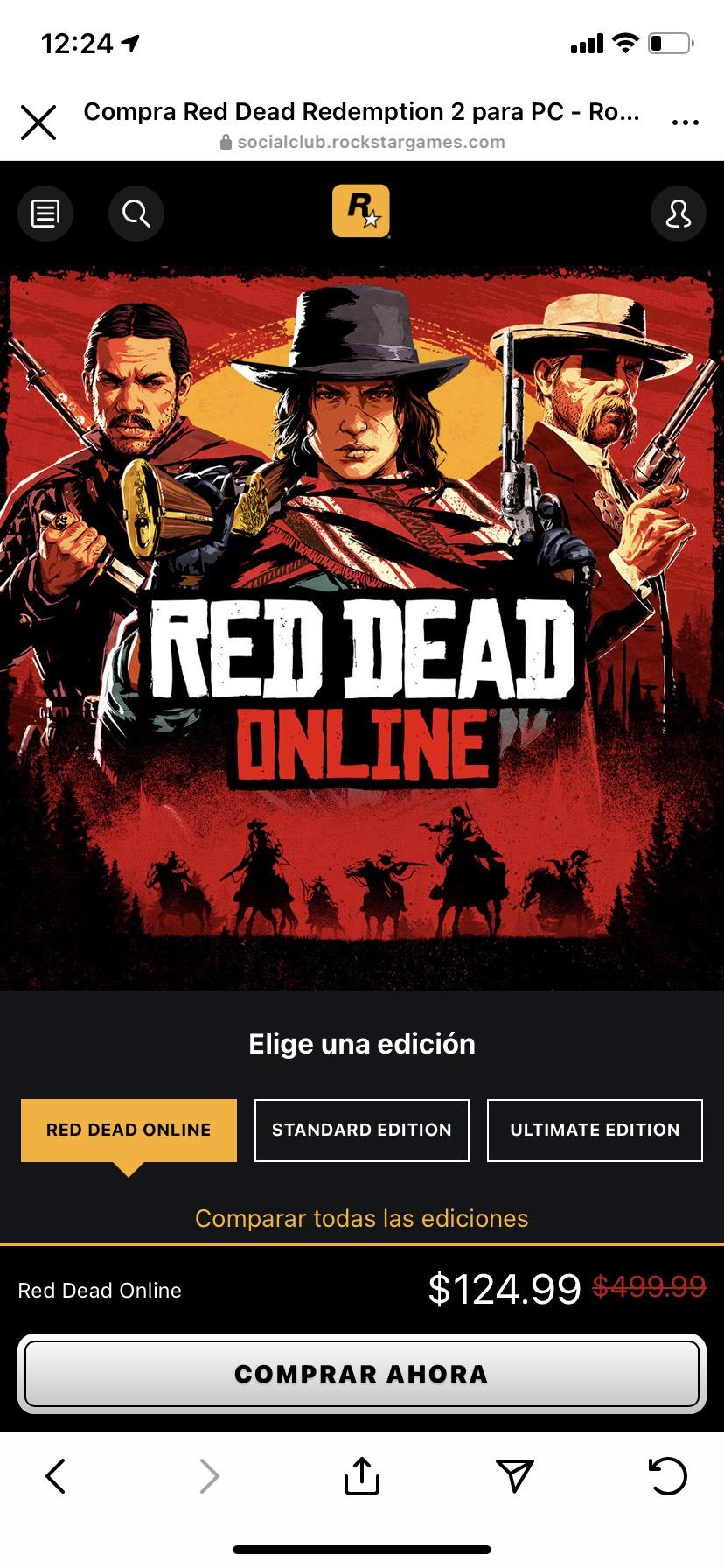 Rockstar :Red dead online con 75% de descuento para pc