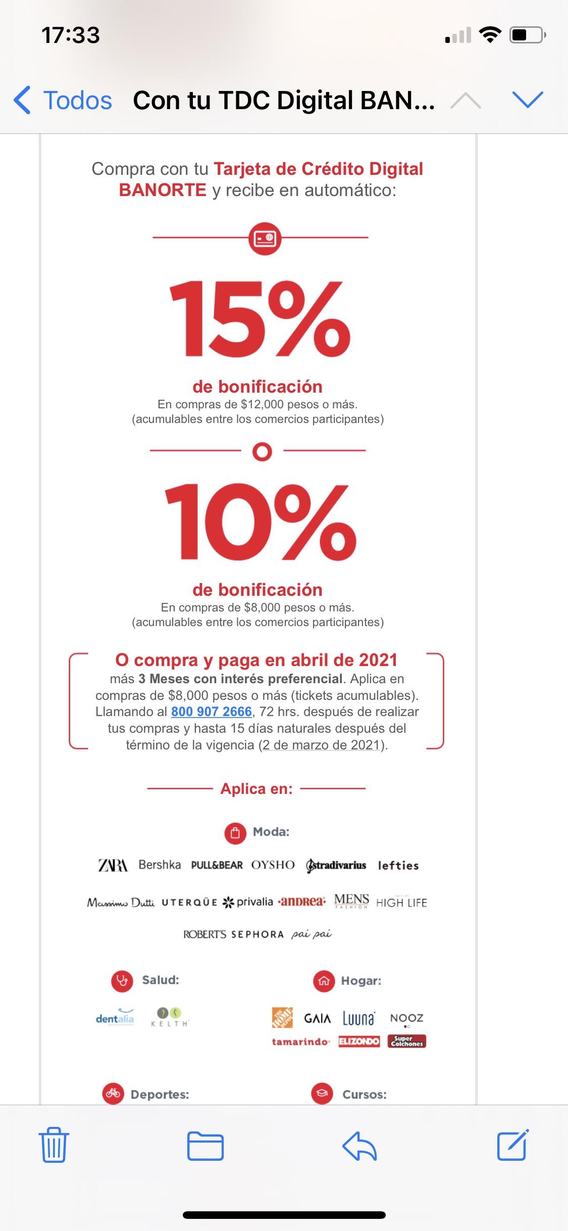 Banorte: Bonificación del 15% o 10% tarjeta digital