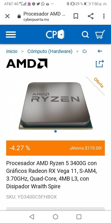 CyberPuerta: Procesador AMD Ryzen 5 3400G con Gráficos Radeon RX Vega 11, S-AM4, 3.70GHz, Quad-Core, 4MB L3, con Disipador Wraith Spire