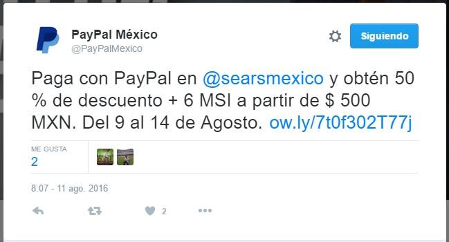 Sears en línea: hasta 50% de descuento pagando con PayPal en artículos seleccionados