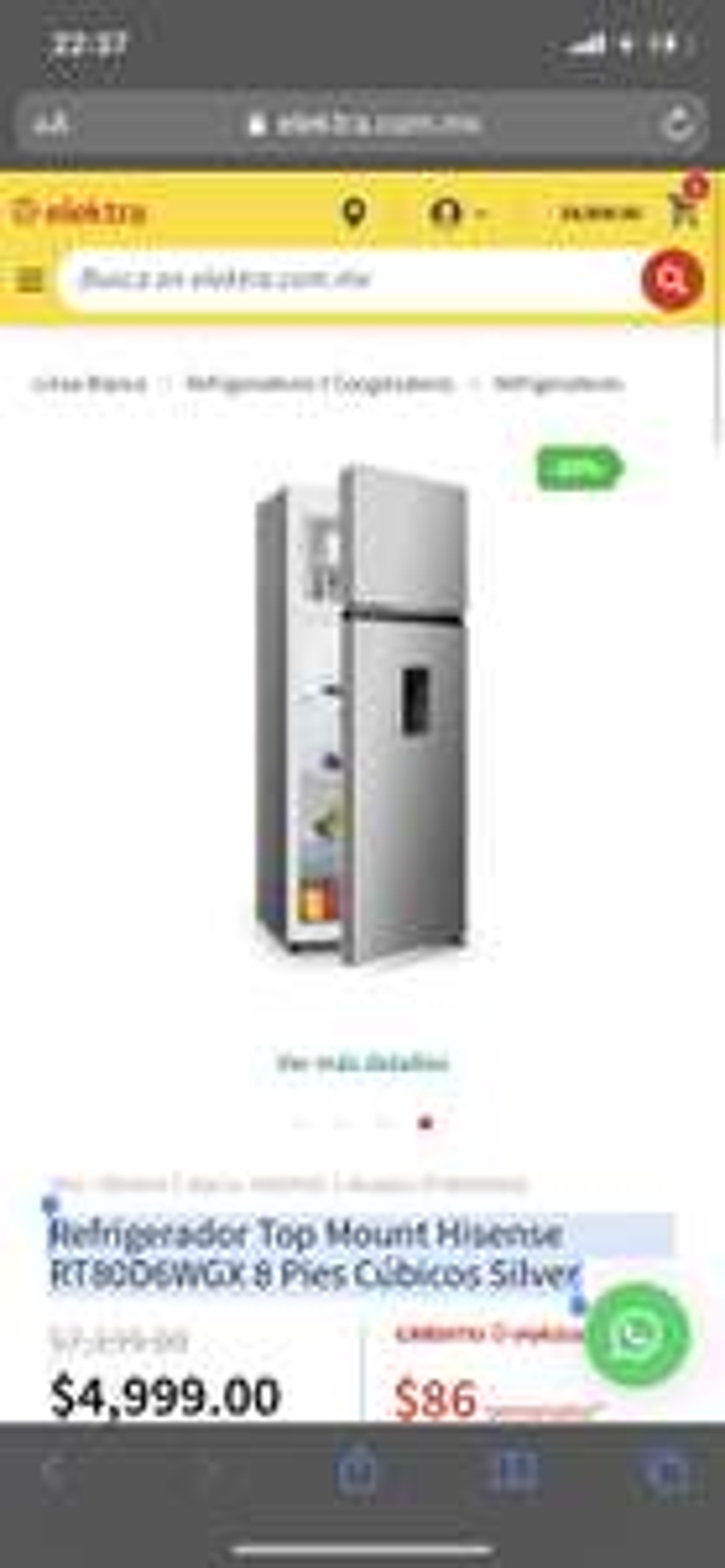 Elektra: Refrigerador Hisense 8 pies