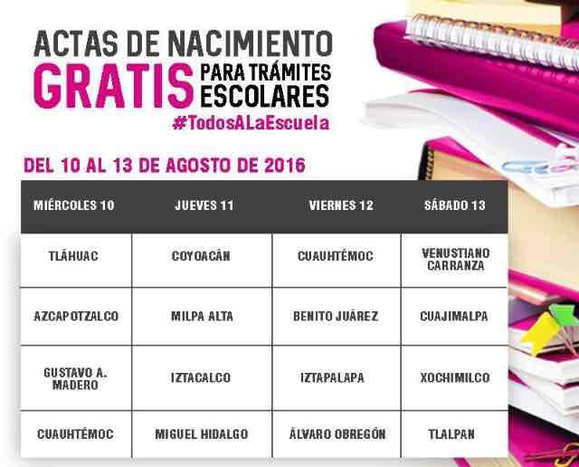 CDMX: Actas de nacimiento gratis para trámites escolares de menores.