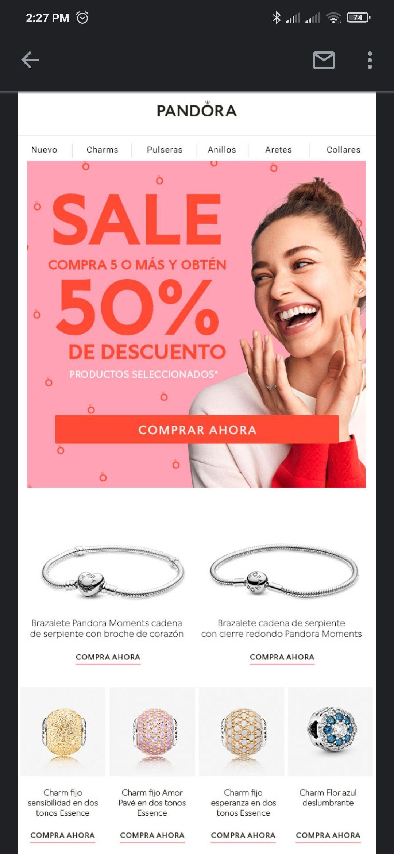 Pandora: 50% de descuento en productos seleccionados comprando 5+