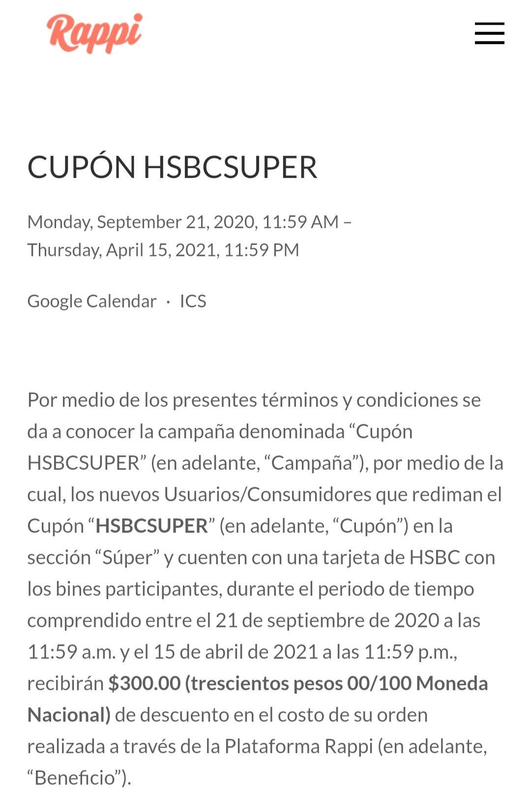 Rappi - Cupon 300 de descuento pagando con HSBC nuevos usuarios