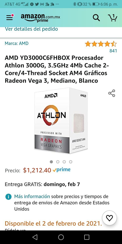 Amazon: Athlon 3000g en buen precio