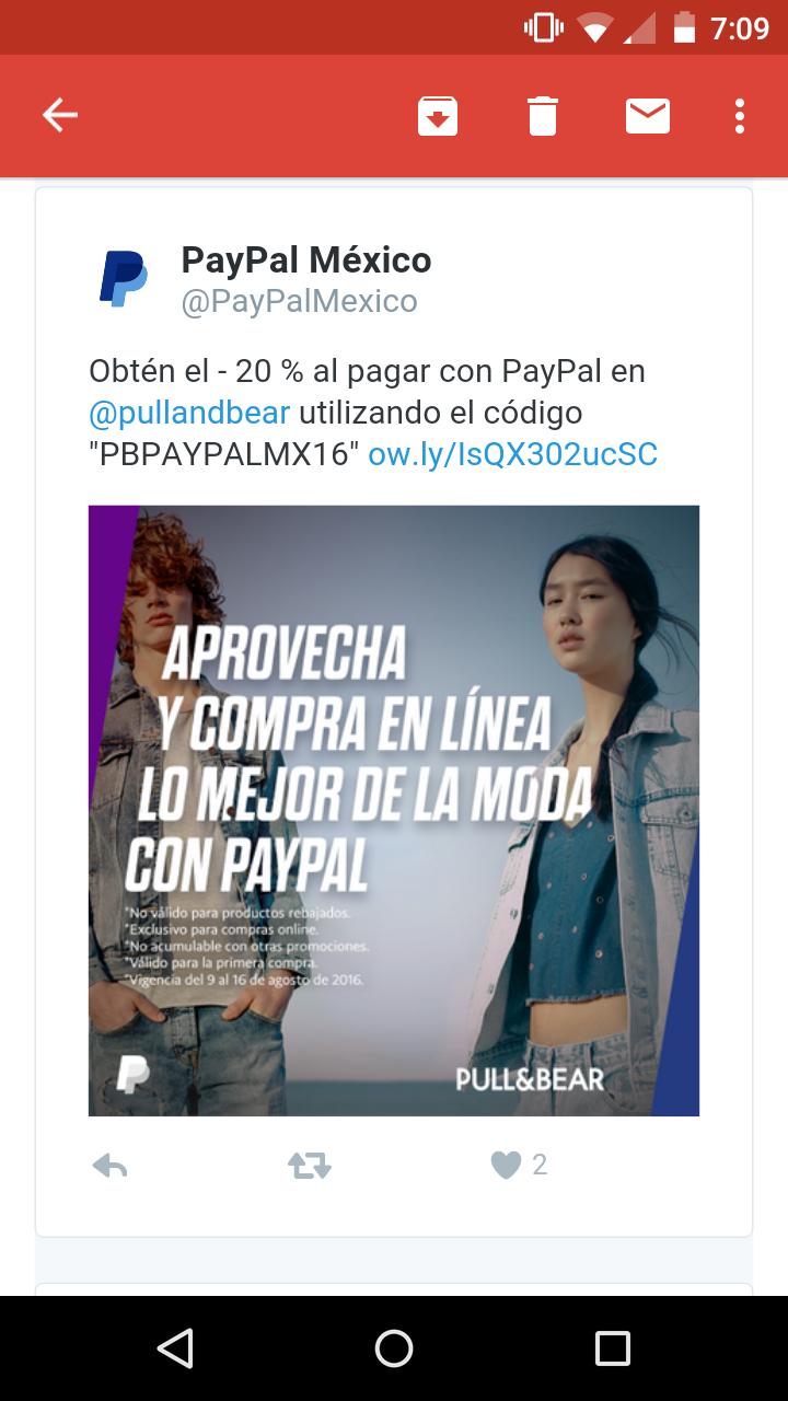 Pull and Bear: 20% de descuento pagando con paypal