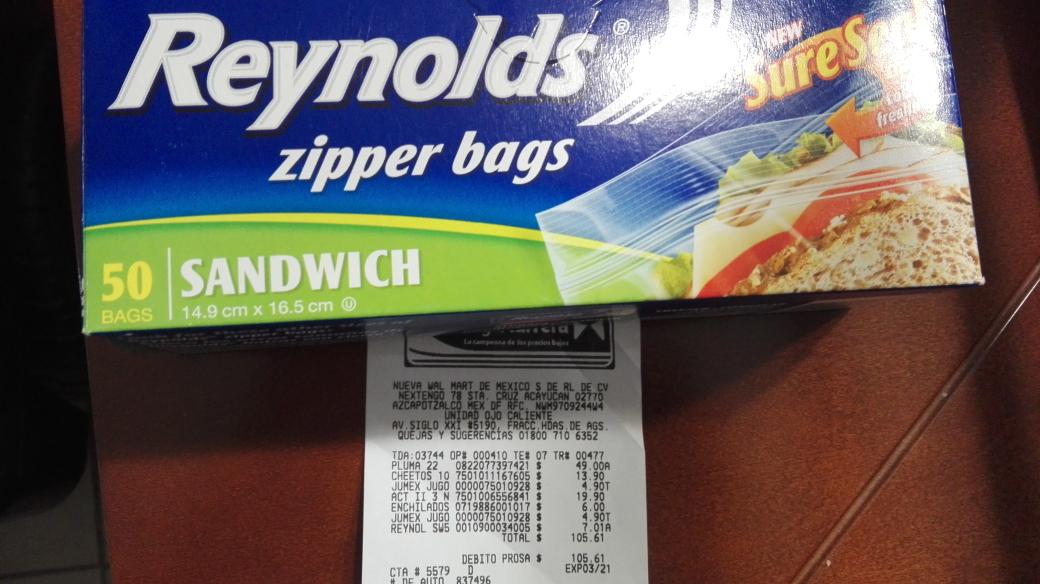 Bodega Aurrerá: bolsas para sándwich zipper bags con 50 a $7.01