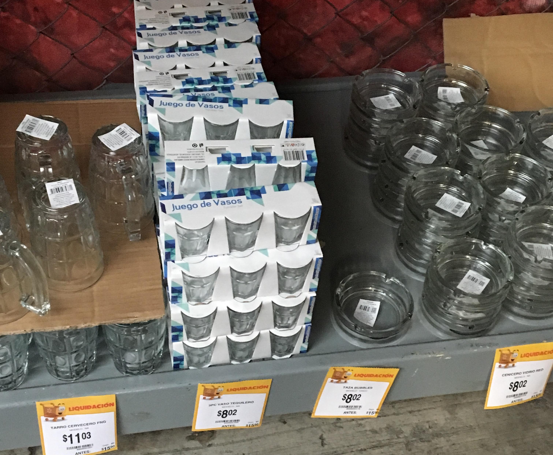 Walmart Villa Coapa (CDMX): juego de 3 vasos tequileros, cenicero redondo de vidrio
