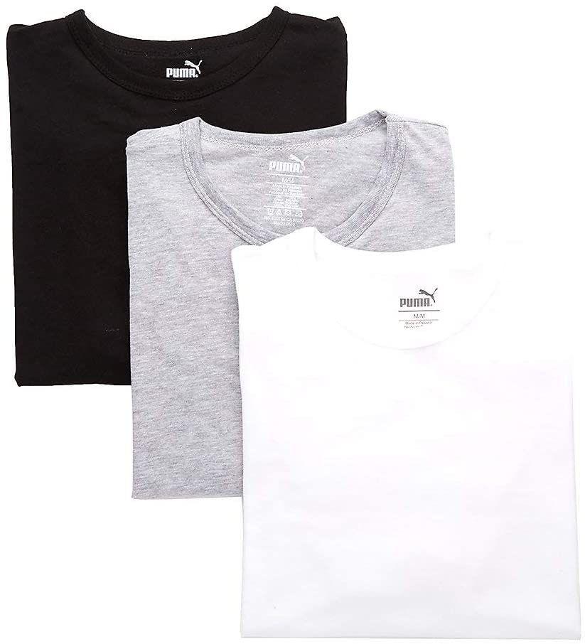 Amazon: PUMA Paquete de 3 Camisetas de Cuello Redondo para Hombre. Camiseta Interior