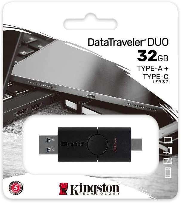 Amazon - Kingston DataTraveler Duo - Memoria USB (32 GB, USB-A y USB-C, 3.2 Doble Conector, DTDE/32 GB)