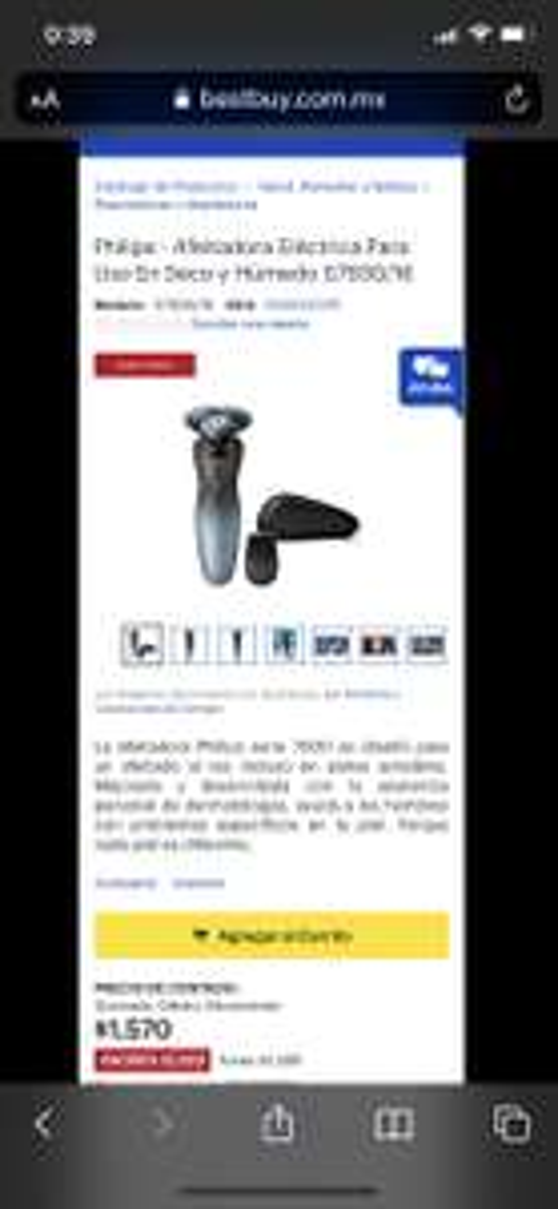 Best Buy: Philips - Afeitadora Eléctrica Para Uso En Seco y Húmedo S7930/16