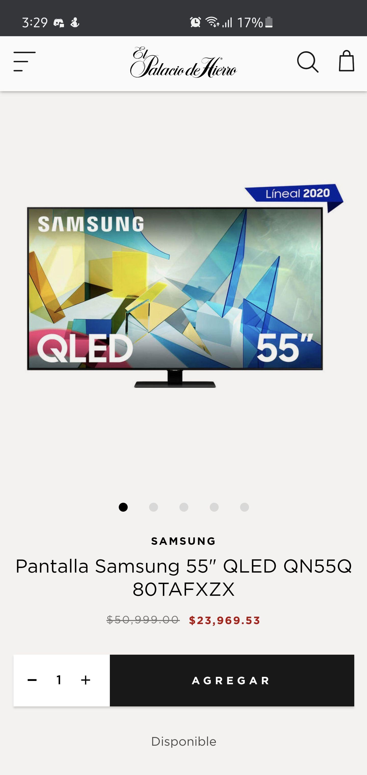"Palacio de Hierro, Pantalla Qled Samsung 4K 55"" Q80T"