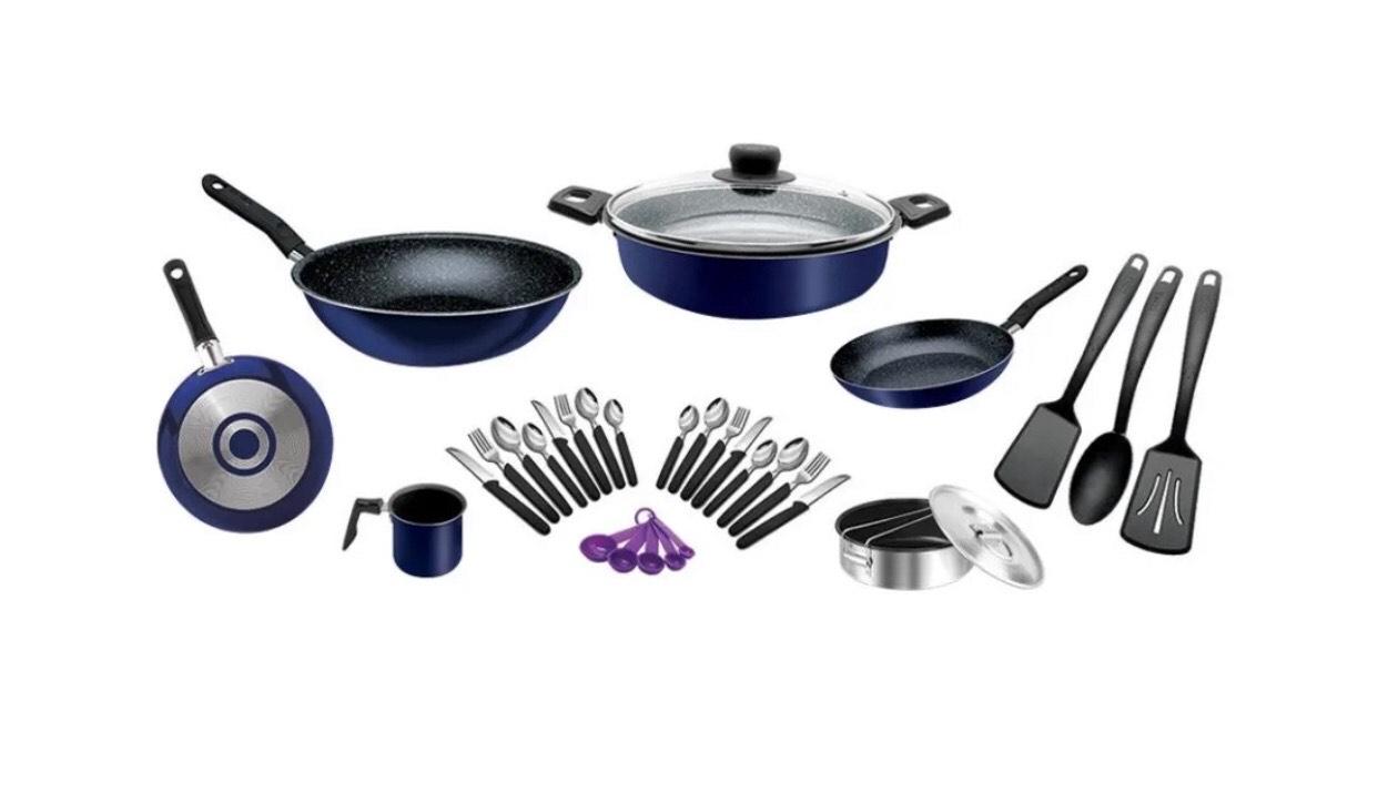 Walmart en Linea: Batería de Cocina Ekco Mango de Baquelita 32 Piezas Dark Blue