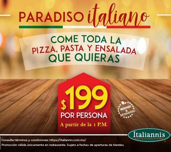 Italianni's: Come toda la Pizza, Pasta y Ensalada que Quieras por $199