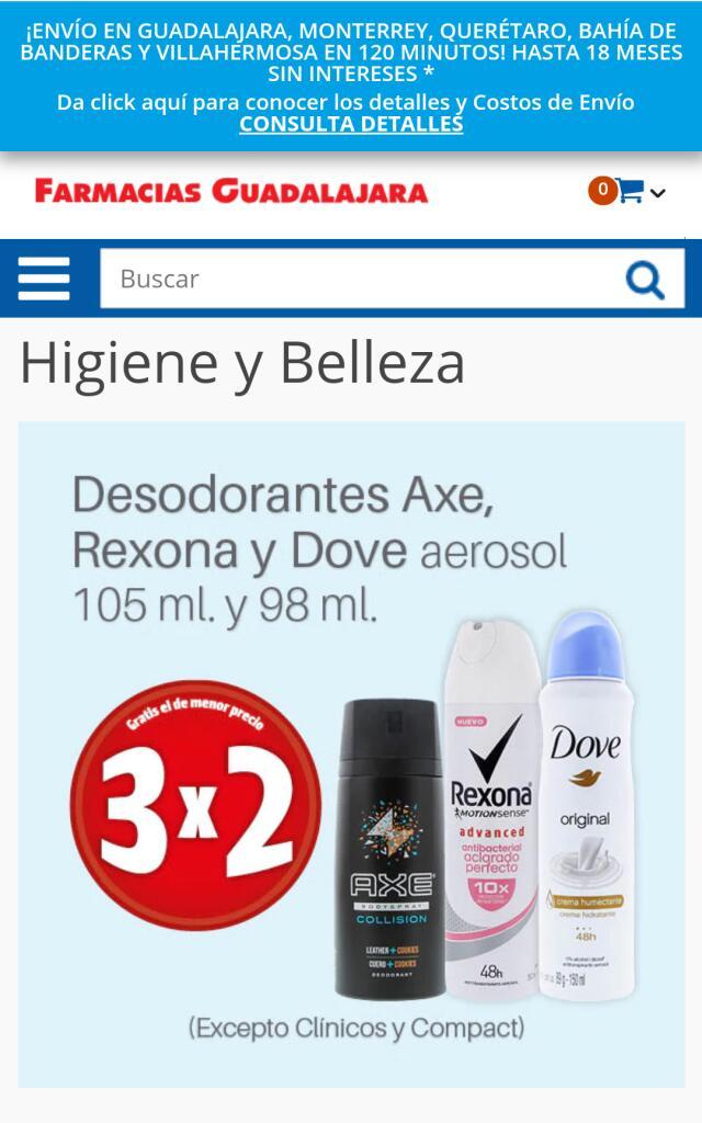 Farmacias Guadalajara 3x2 en desodorantes Axe, Dove y Rexona en aerosol para hombre y/o para mujer