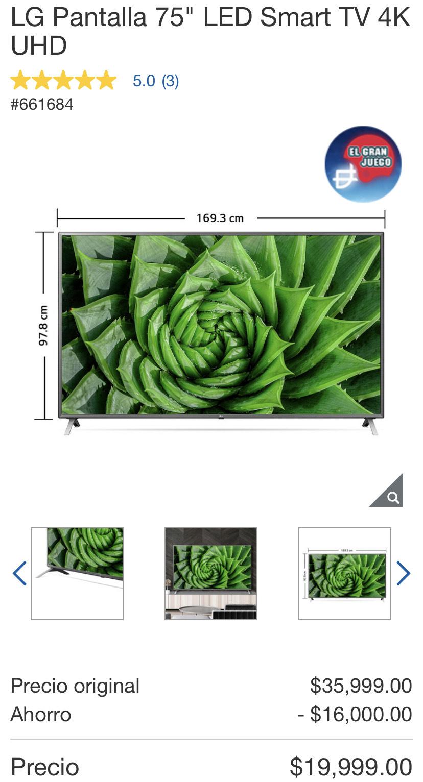 "Costco: LG Pantalla 75"" LED Smart TV 4K UHD"