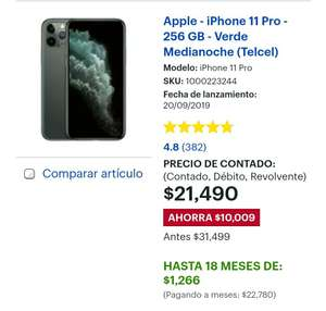 Best Buy: iPhone 11 Pro - 256 GB - Verde Medianoche