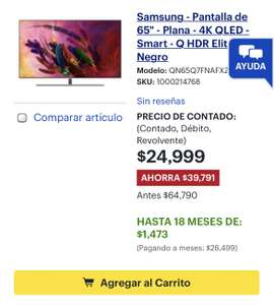 "Best Buy: Samsung - Pantalla de 65"" - Plana - 4K QLED - Smart - Q HDR Elite - Negro"