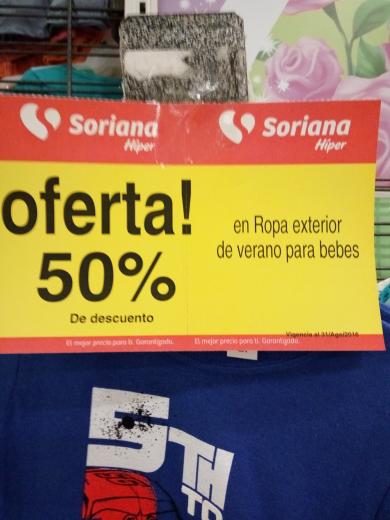 Soriana Hiper Delicias Chihuahua: 50% de descuento en ropa bebe de verano