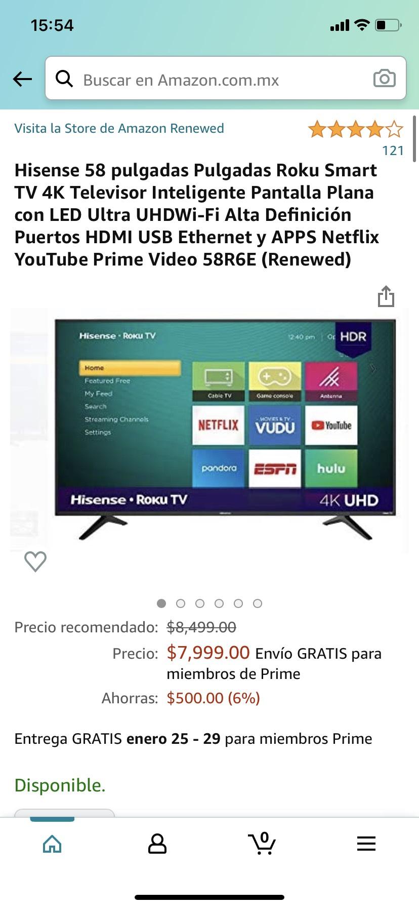 Amazon: Hisense 58 4K renewed