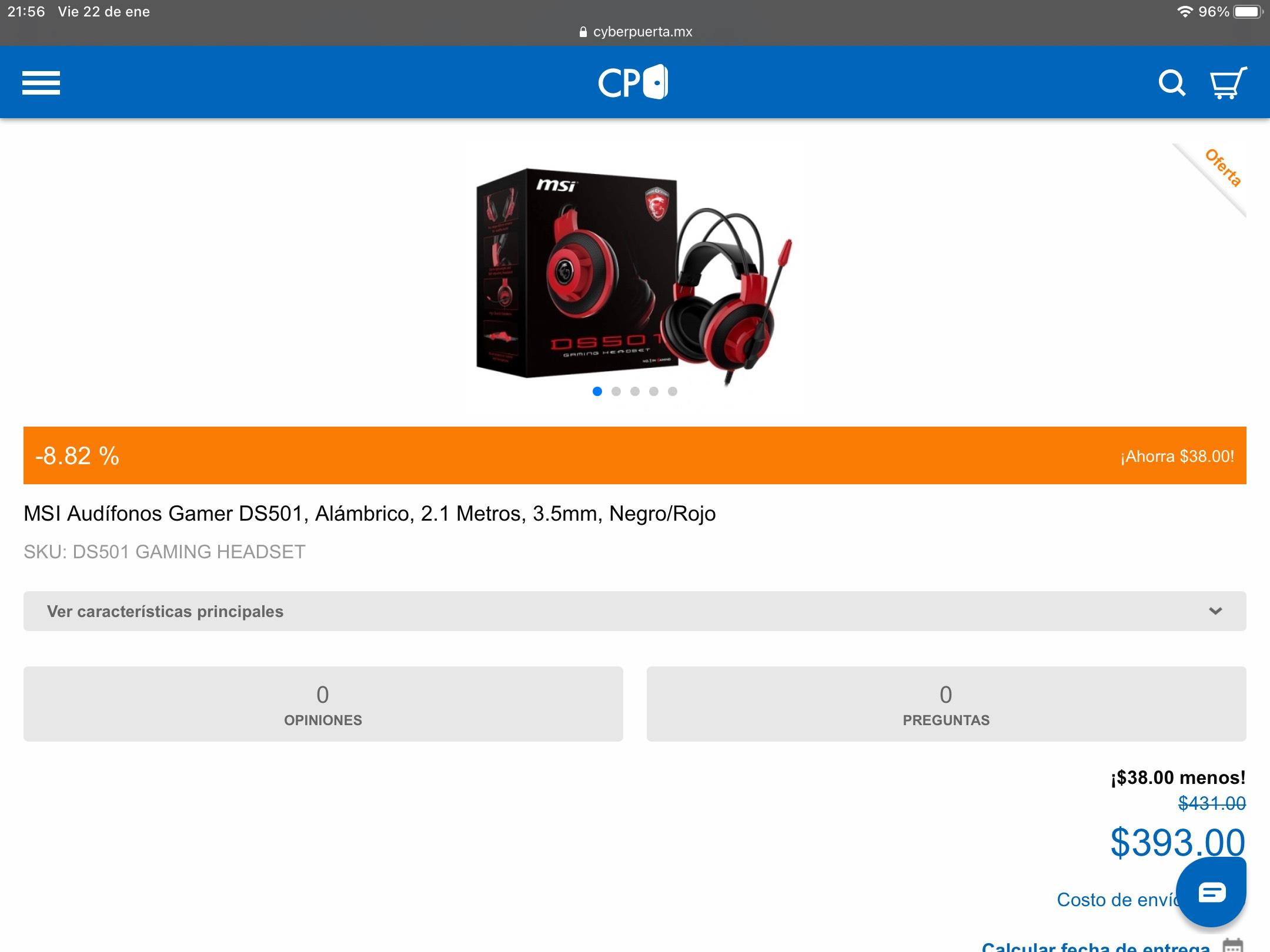CyberPuerta: Audífonos Msi