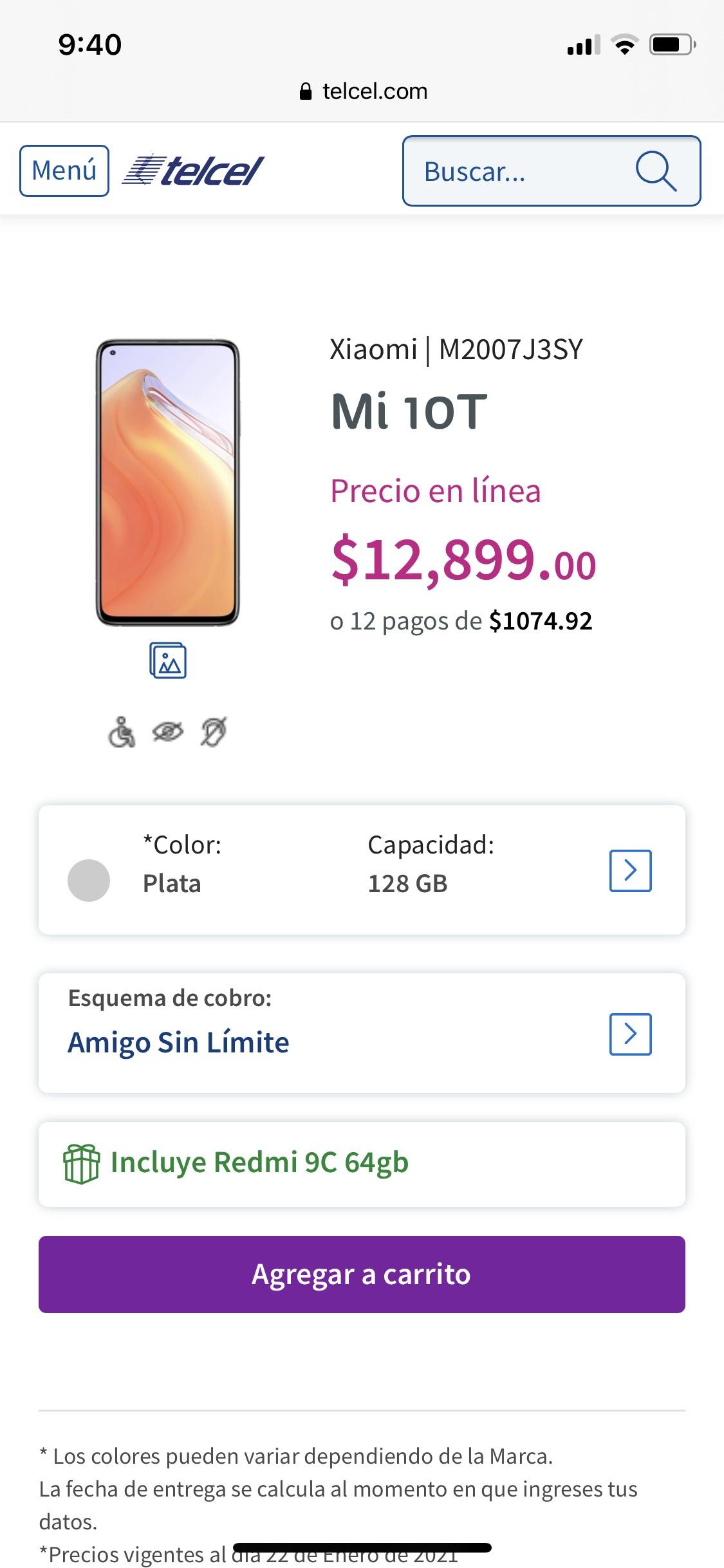 Tienda telcel: Xiaomi mi 10T más Xiaomi redmi 9C de regalo