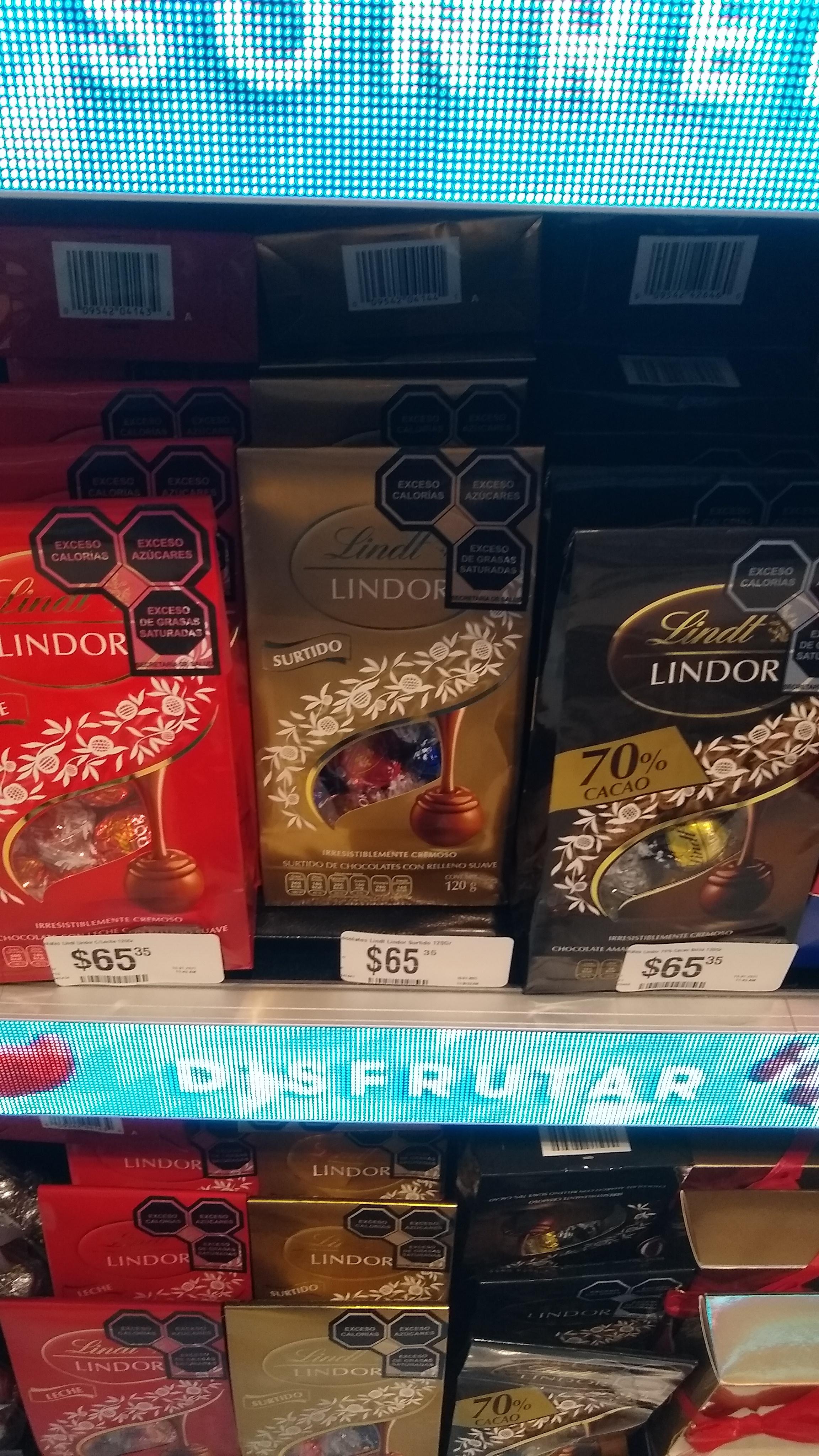 Chocolate Lindt Lindor de 120 g, en Chedraui Polanco a $65