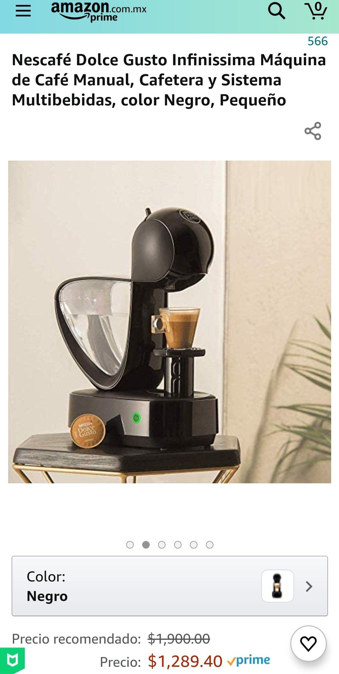 Amazon, Nescafé Dolce Gusto Infinissima Máquina de Café Manual, Cafetera y Sistema Multibebidas, color Negro, Pequeño