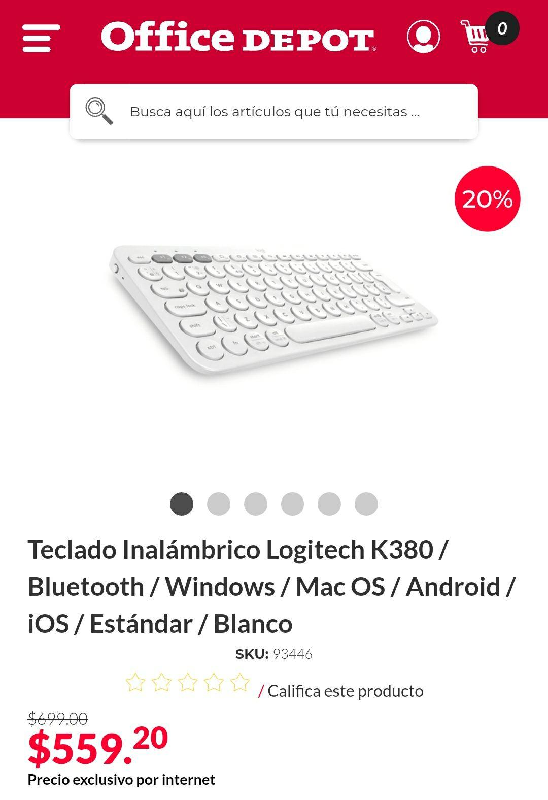 Office Depot, Teclado Bluetooth Logitech k380