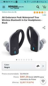 Amazon Jbl Endurance Peak Waterproof True Wireless Bluetooth In Ear Headphones - Black