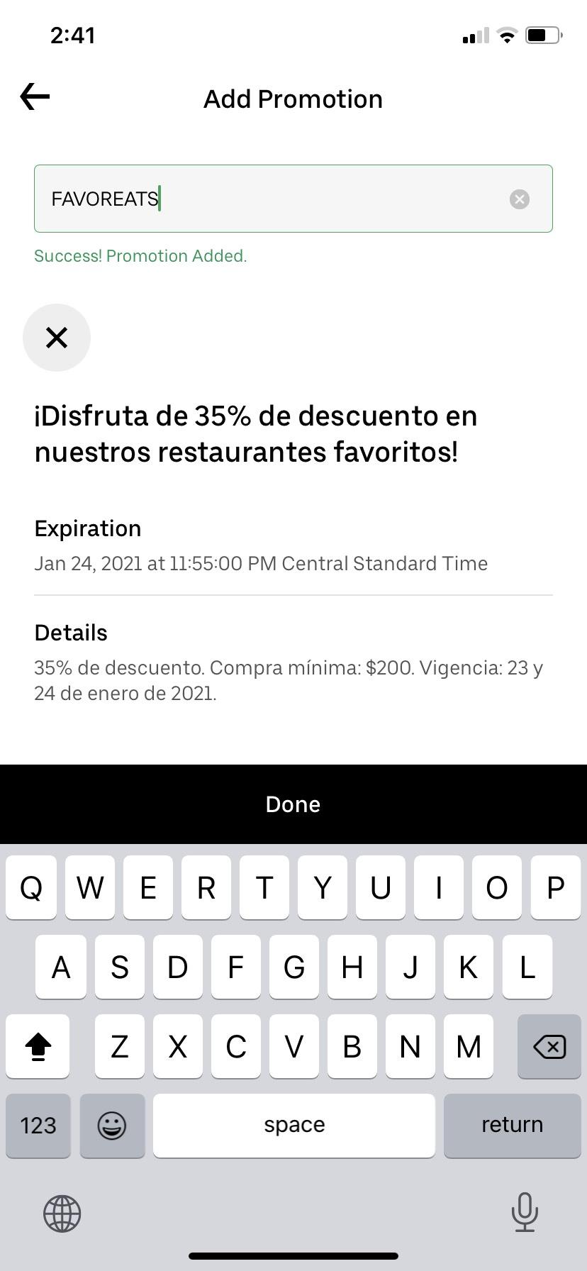 UberEats: 35% de descuento en un platillo. Usuarios seleccionados.