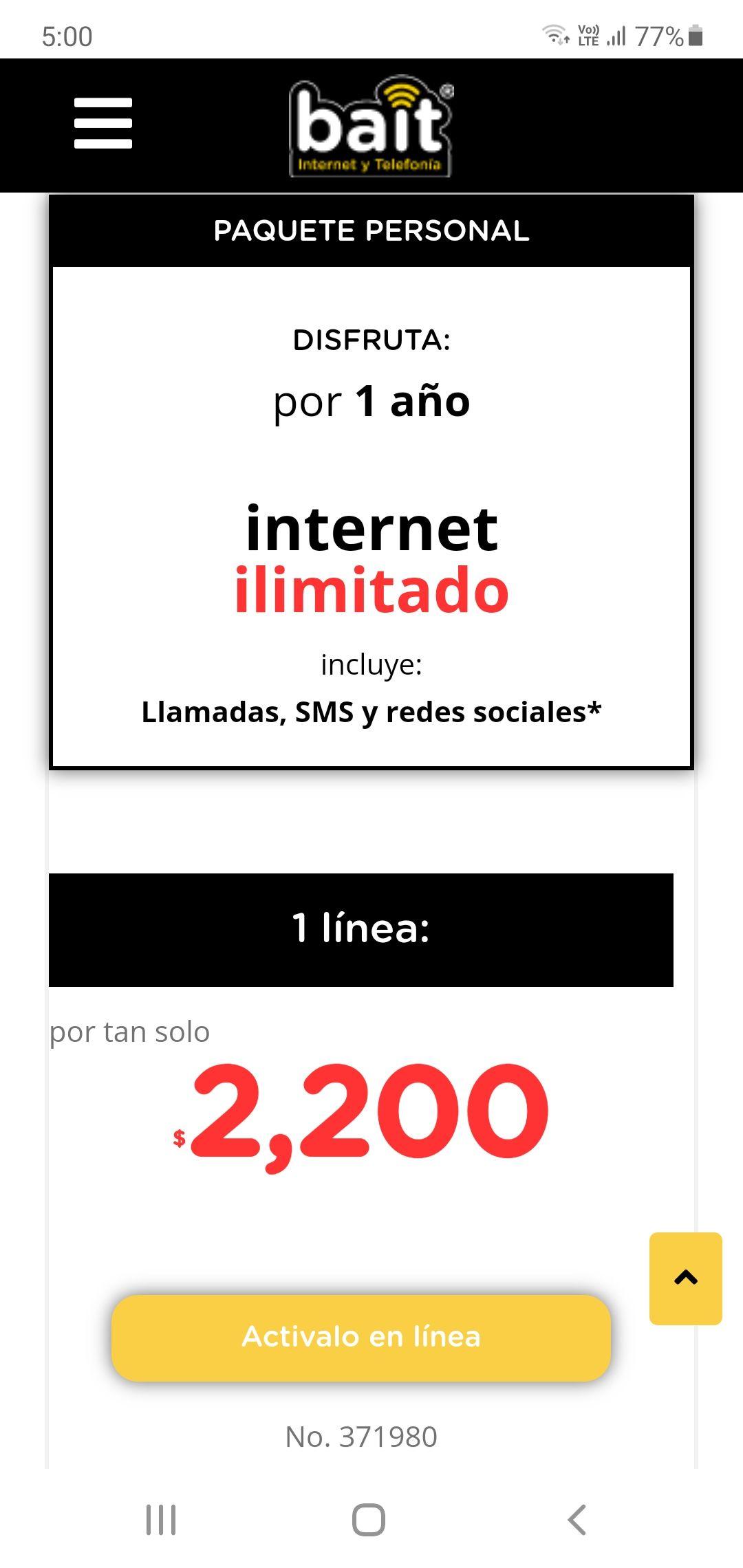 BAIT INTERNET ILIMITADO X 1 AÑO