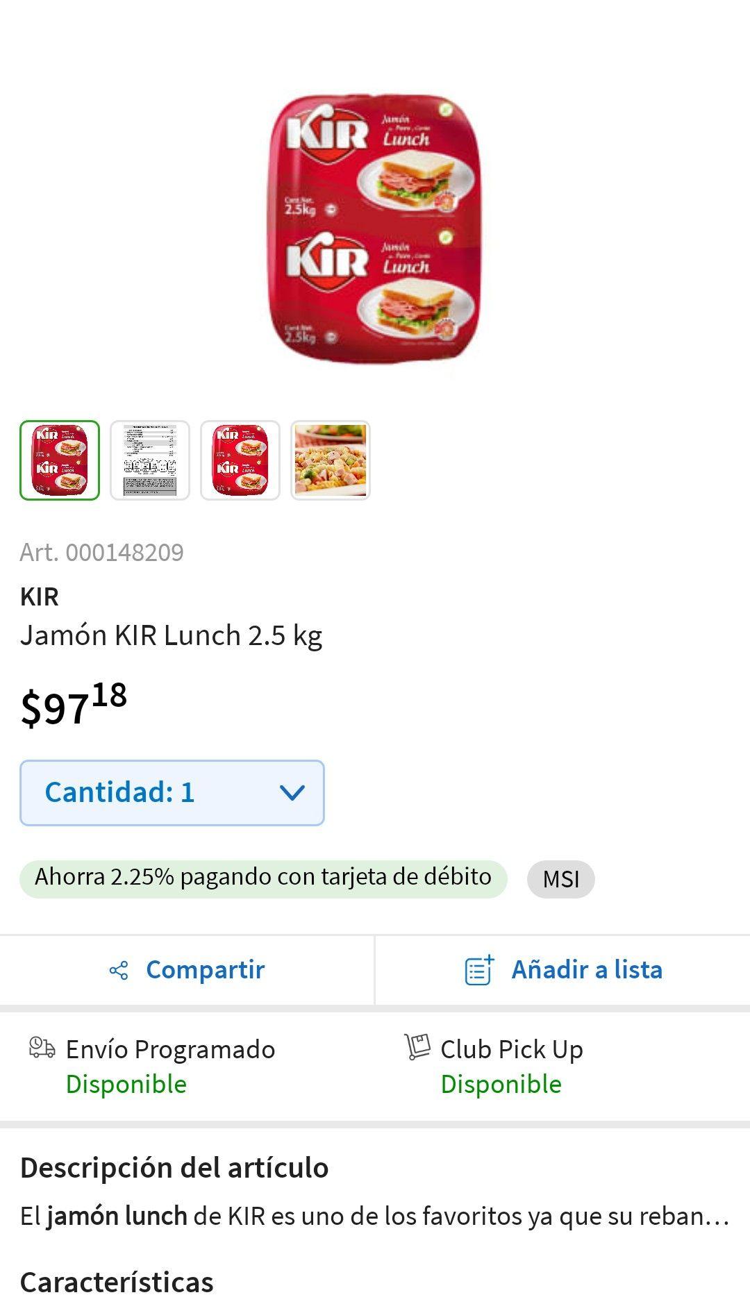 Sam's Club: Jamón de cerdo y pavo kir 2.5 kg