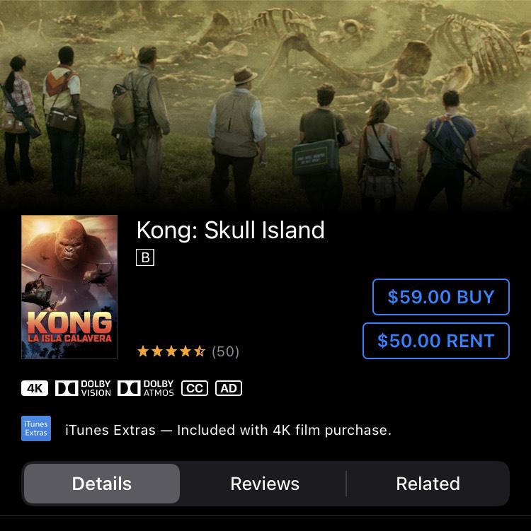iTunes: Kong Skull Island 4K Dolby Atmos